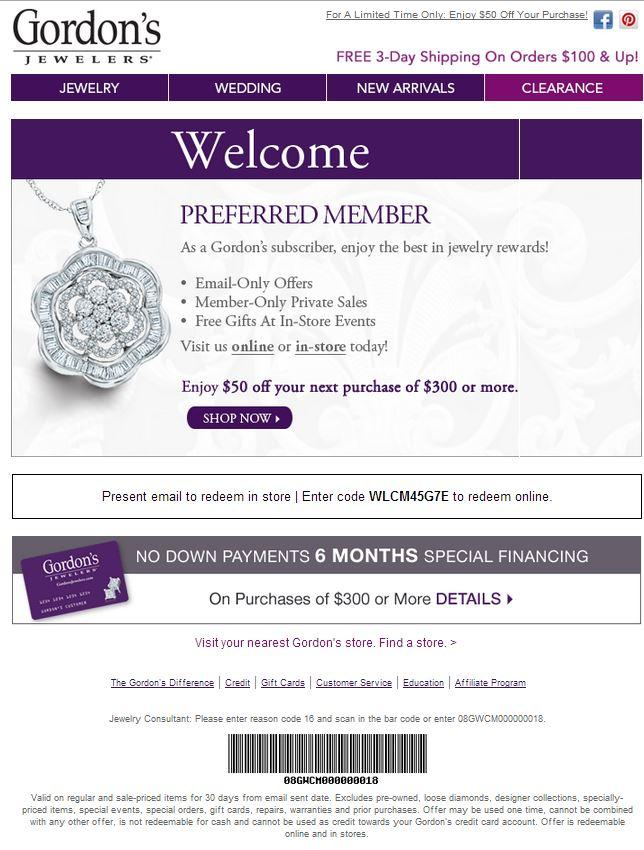 Gordons Jewelers coupon codes
