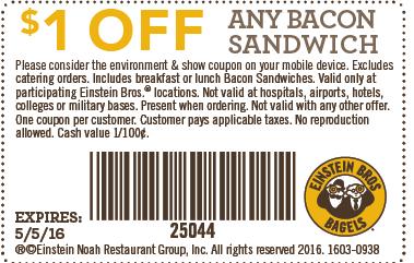 Einstein Bagels coupon codes